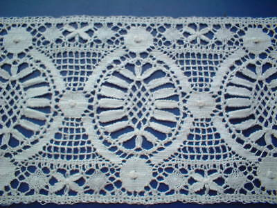 Old English White Cotton Leavers  Cluny Lace Spot Tally Insertion Bedlinen