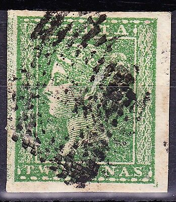 India 1854 QV 2A GREEN SG 31 PART PAPERMAKERS Wmk FU 4 MARGINS