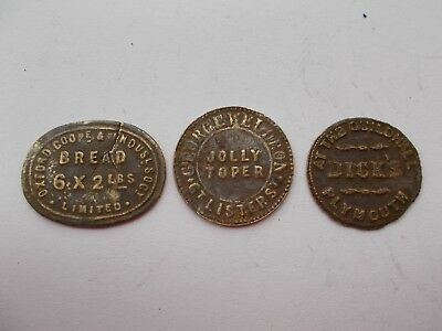 QTY THREE 19th CENTURY TOKENS (UNRESEARCHED)