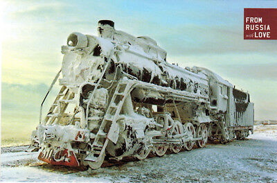 LOCOMOTIVE IN SIBERIA Modern Russian postcard
