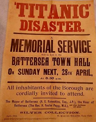 TITANIC DISASTER Poster Olympic Class Ship Launched & Sank in 1912 New York Old