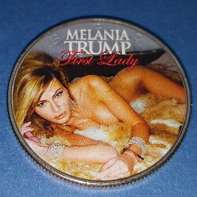 Melania Trump Silver Coin USA Flag Donald Nude Sexy Lady Pin Up top less Signed