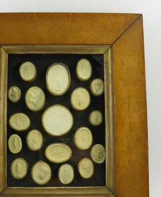 Antique 19th century collection of Grand Tour plaster cameo intaglios framed