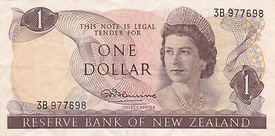 1 Dollar Vf Banknote From New Zealand 1968-75!pick-163