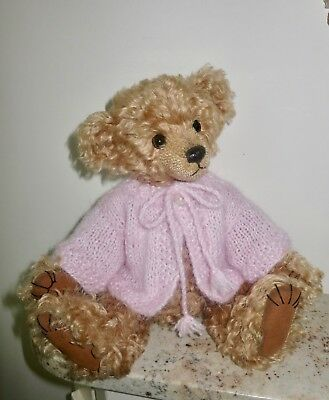 *TEDDY CLOTHES* new hand knitted angora-look cardigan to suit a 10-11 inch bear