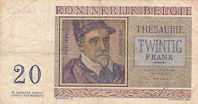 20 Frank Fine-Vf Banknote From Belgium 1956!pick-132