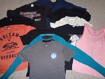 Huge Lot 11 Mens T Shirts Volcom Helix A & F Short/long Sleeve Flannel Size L/xl
