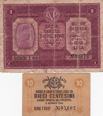 10 Cents&1 Lira Vg-Fine Banknotes From Austrian Occupation Of Venice 1917!