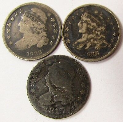 1827,1832,1835 Capped Bust Silver Dime Coins Mixed Lot Collection