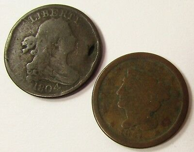 1804,1851 Half Cent Coins Draped Bust & Braided Hair Mixed Lot Collection