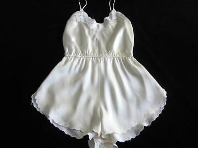 Vintage Lacy Pure Silk Teddy S/M Bias-Cut Scalloped Edges Ivory Sexy NEW