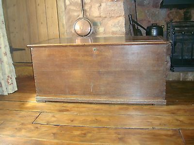 19th century English oak coffer, blanket box, storage chest with key