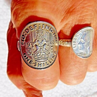 1948  SCOTISH SHILLING /.925 Band Coin Ring > Size 10 1/2