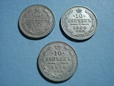 Russian Empire Silver Coins 1907, 1909, 1910 Silver 10 Kopeks Lot Of 3 Coins