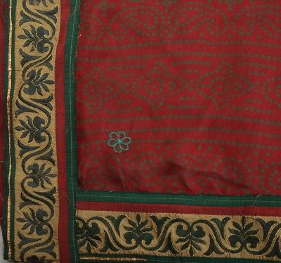 TCW Vintage Indian Art Silk Saree Embroidered Maroon Fabric Bandhani Sari