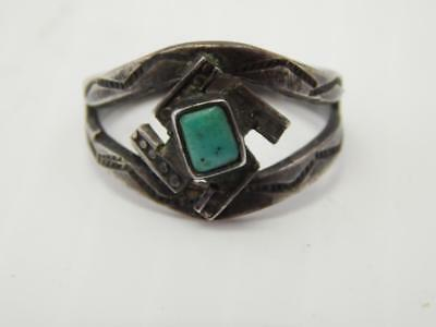 Antique Vintage Navajo Indian Sterling Silver Turquoise Harvey Era Ring
