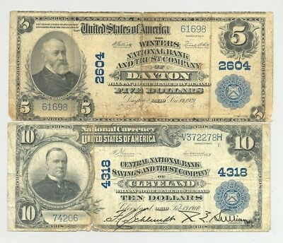 Series 1902 $5 and $10 Plain Back National Banknotes no reserve