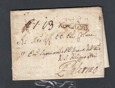 Italy 1793 Stampless Folded Letter Sfl Romagna To Palermo Wprinted Contents