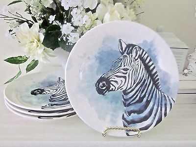 Pier 1 PORCELAIN (4) ZEBRA ACCENT PLATES New