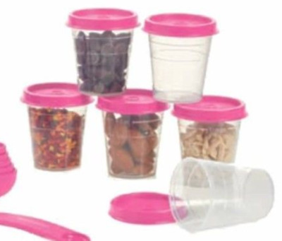 Tupperware Midgets 6pc Set Salad Dressing Sides Mayo Spice S & P Candy Pink New