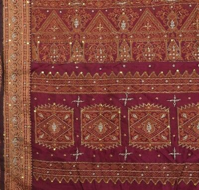 Antique Vintage Indian Art Silk Saree Hand Beaded Woven Purple Fabric Sari
