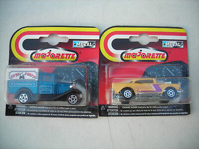 1997 Majorette YELLOW 57 Chevy BLUE MODEL A FORD TOY SHOP LOT OF 2 1:64 RARE NEW
