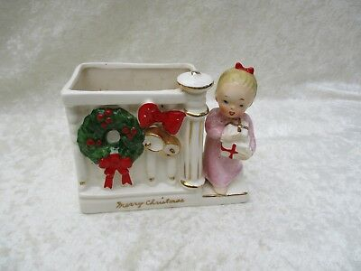 Vintage Napco Ceramic Christmas Girl Angel Planter