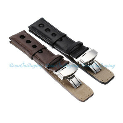Black Brown High Quality Genuine Leather Folding Buckle Watch Strap Band Unisex