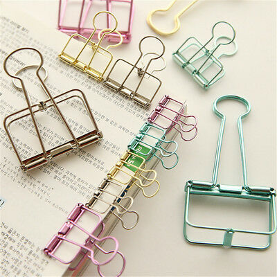 Unique Solid Color Hollow Out Metal Binder Clips Notes Letter Paper Clip Hot
