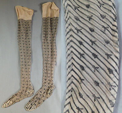 Vintage Black Chevron Striped Print Nude Silk Nylon Thigh High Flapper Stockings
