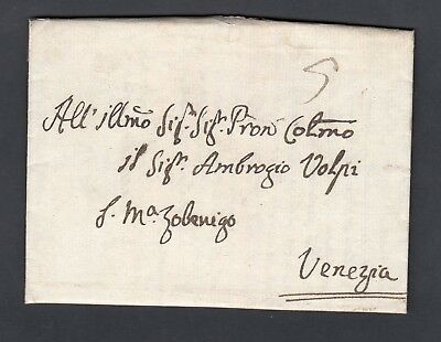 Italy 1775 Stampless Folded Letter Sfl Udine To Venezia With Contents