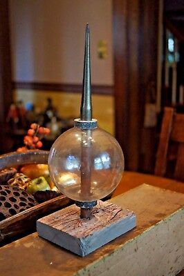 Antique Primitive Rare Clear Glass Lightning Rod Ball Globe Mounted Wood Stand