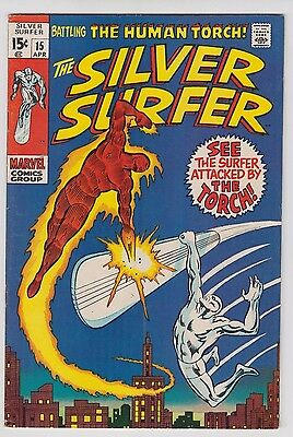 Silver Surfer #15 1970 Marvel Comics Fn+ Condition Human Torch Appeears