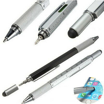 Metallic 4 in1 Touch Screen Stylus Ballpoint Pen Spirit Level Ruler Screwdriver
