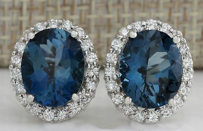 Women's Fashion 925 Solid Silver Blue Topaz Stud Earrings Wedding Party Jewelry