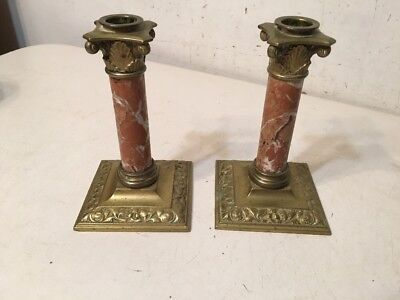 Antique Rouge Marble And Brass Or Bronze Candle Sticks Garnitures Likely French