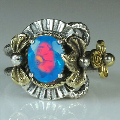 27.5CT Natural 925 Silver Oval Ethiopian Light Blue Opal Vintage Ring MCQB50