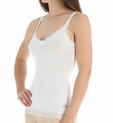 DKNY White Downtown Lace Cotton Camisole Tank Top Women's Medium