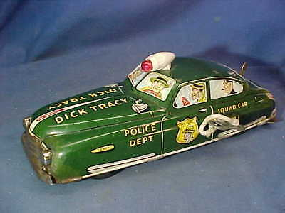 1950s DICK TRACY TIN Litho WIND UP Toy POLICE SQUAD CAR by MARX Works