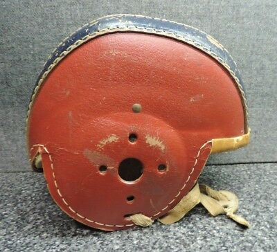 1940's Youth Size Leather Football Helmet Red / Blue with Straps