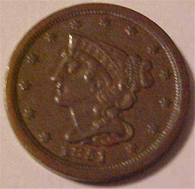 1851 Braided Hair Half Cent -- Nice Original High Grade Coin with Luster