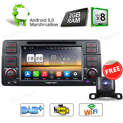 """7"""" Octa-Core Android 6.0 Car DVD Player Bluetooth Wifi for BMW E46 M3 + Camera R"""