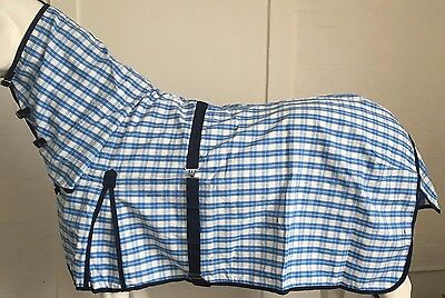 Rejected Axiom Polycotton Skyblue & White Ripstop Unlined Horse Combo Rug 6' 0