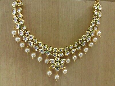 Indian Jewelry Kundan Necklace Set bollywood Ethnic Gold Plated Traditional