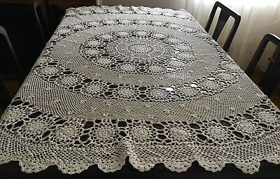 HAND CROCHET Beige, Round Table Cloth 156cm diam - New Cond