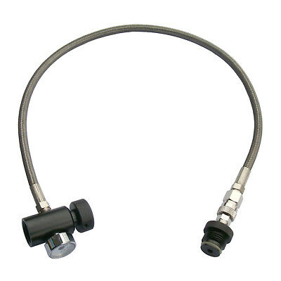 """New Paintball 24"""" Stainless Steel Braided Remote Hose with 3000 PSI Gauge w/ QD"""