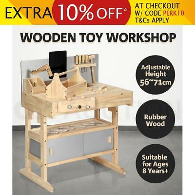 Kids Workbench Wooden Tool Bench Toy Workshop Set 32 PCS with Toolbox Blackboard
