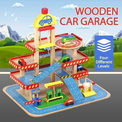 Wooden Car Garage Toy Car Park Car Ramp Car Parking Playset Colourful w/4 Levels