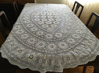 HAND CROCHET Oval, White Tablecloth 150x195cm - Exc Cond