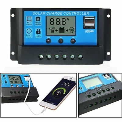 PWM 10/20/30A Dual USB Solar Panel Battery Regulator Charge Controller 12V 24V